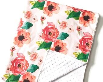 Floral Dreams on White Crib Blanket - Baby Blanket - Minky Blanket - Floral Blanket - Floral Baby Blanket - Girl Blanket - Floral Bedding