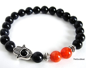Agate Bracelet, Fire Agate Bracelet, Mens Bracelet, Womens Bracelet, Unisex Bracelet, Yoga Mala Bracelet, Goldstone Bracelet, Hamsa Bracelet