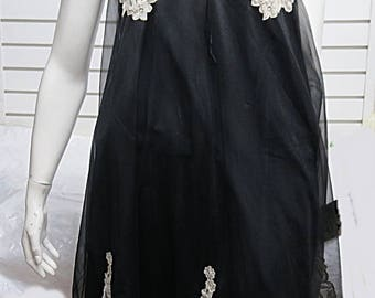 Vintage Black Nylon Chiffon Nightgown  Kayser Small #525