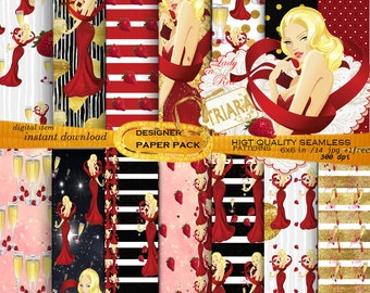 Fashion Paper Pack Party Girl Paper Pack Ladies Night Paper Gold Paper Pack Girly Paper Pack Girl illustration Fashion Girl Strawberry Paper