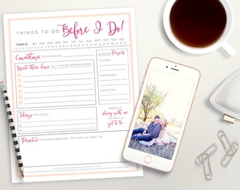 PRINTABLE Wedding Planning Notepad | Bride to Be Wedding Planner | Wedding To Do List | Wedding Organizer | Instant Download