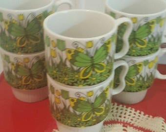 Vintage Butterfly Stacking Mugs Set of 6