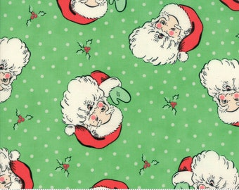 Swell Christmas by Urban Chiks for Moda, #31120-14, Green Santa, Vintage Santa, Christmas Fabric, Christmas in July, IN STOCK