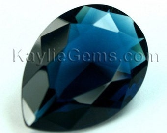 Glass Jewel 18x25mm TearDrop Faceted Diamond Cut Pointed Back, Unfoiled - London Blue BA210 - 1 Pc
