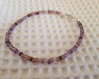 Lilac mix seed bead bracelet - czech glass seed bead bracelet - purple beaded bracelet - pretty bracelet - dainty bracelet - UK seller