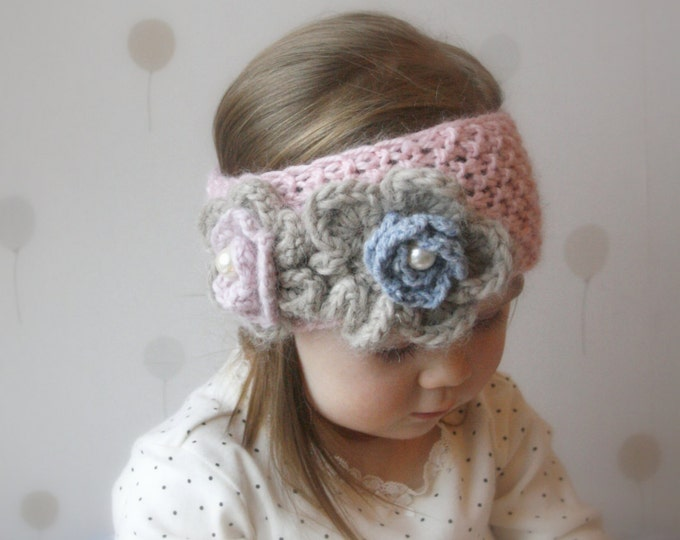 KNITTING PATTERN simple headband Kendra with crochet flowers (newborn, baby, child, adult sizes)