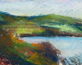 loch ness framed original pastel painting-scotland landscape-scotland painting-amanda sapp-pastel landscape-lake painting-scottish highlands