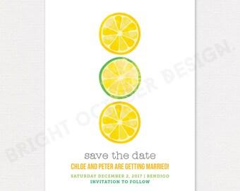 Lemon save the date card | digital download