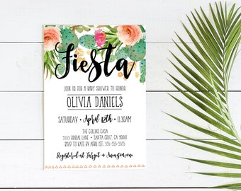 Fiesta Baby shower Invitation, Cactus, Couples shower, baby shower invites, fiesta theme invite, digital, printed invitations