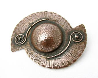 Copper stamped and engraved R.Breuil Celtic brooch