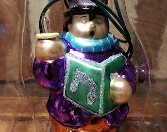 Vintage Enchanted Christmas XMAS Holiday Lighted Light Up Hand Painted Blown Glass Snowman Snow Man Ornament