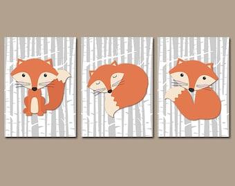 FOX Wall Art, FOX Nursery Art, Fox Decor, Fox Birch Trees, Woodland Nursery Decor, Wood Forest Animals, CANVAS or Prints, Set of 3 Pictures