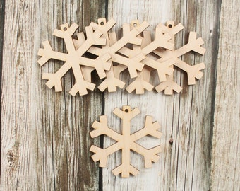 Christmas Snowflake Ornaments   Wood Christmas Ornament   DIY Unfinished Wood Snowflake Ornamanets   Free Shipping
