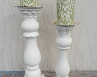 Wonderful Tall Whitewashed Pair of Pillar Candle Holders with Candles!