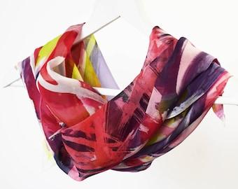 Batik silk scarf, Silk chiffon scarf Hand painted scarf, Long silk scarf Unique silk scarf Silk scarves Ladies silk scarf AnaSilkDesign