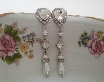 """Swarovski Crystals Bridal Drop Earrings """"Vintage Shine"""", Wedding Earrings, Bridesmaid Jewelry, Bride Earrings, Dangle Earrings"""