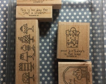 Stampin Up 'Birthday Bakery' Woodblock rubber stamp set.
