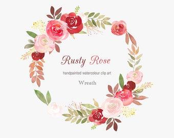 Watercolour Floral Wreath Clip Art
