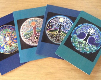 Four Tree of Life Mandala Greeting Cards-  4 seasons