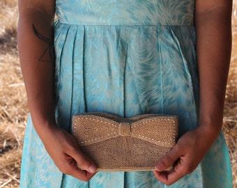 CHAMPAGNE Clutch 1940's Vintage Bridal Evening Bag Formal Pearl Bead Bow Elegant Evening Bag