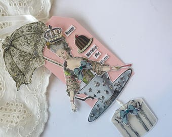Marie Antoinette Birthday Gift,  Vintage Tea Cup, Assemblage Paper Tag, Mixed Media Hang Tag, Dessert Art,  Victorian Art Tag