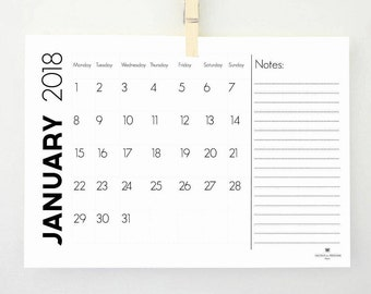 printable calendar with notes 2018