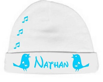 Beanie Baby white birds and music notes personalized with name