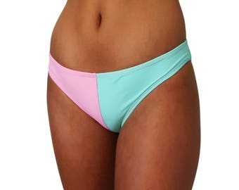 Two Tone Blue Pink Hipster Bikini Bottoms Cheeky