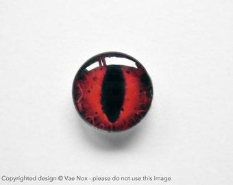 14mm handmade glass eye cabochon - red cat or dragon eye - standard profile