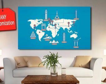 Giant world map etsy multi panel world map blue world map canvas framed for wall decor world map gumiabroncs Choice Image