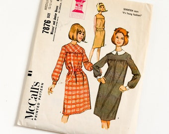 Vintage 1960s Womens Size Medium Dress McCalls Sewing Pattern 7876 Complete / b32-34 w25-26 / Long Sleeves or Sleeveless Optional Belt