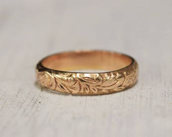 Yellow Gold Floral Ring, Gold Fill Floral Band, 14K Gold Fill,  Boho Ring, Romantic Promise Ring, Mothers Day Gift