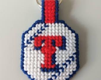 Texas Ranger baseball keychain