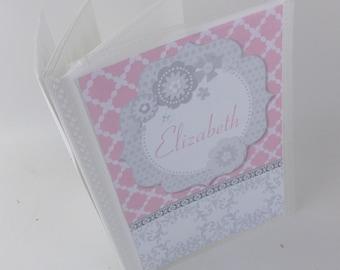 Girl Photo Album 4x6 photo album 5x7 picture book Grandmas Brag Book Baby Photo Album Pink Gray Flower Personalized Baby Shower Gift 564