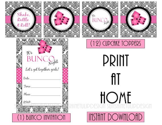 BUNCO Party Printable DIY Invitation Party Favor Tags