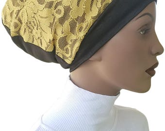 Golden Lace Huggee Locks Beanie™ Hat Tam Lined Cotton Jersey Knit Slouchy Hat Rasta Rastafari Dreadie Handmade