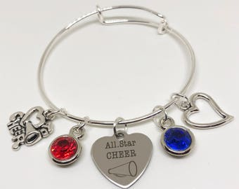 All STAR Cheerleading Bracelet ADULT Size, PERSONALIZED Cheerleading Gift, Cheerleader Gift, Cheerleading Jewelry, Cheer Charm, Cheer Bow