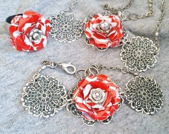 Coca Cola Set Necklace Ring Bracelet Recycled Upcycled Women Gift Teen Girl Gift Trending Jewelry Sale Items R80