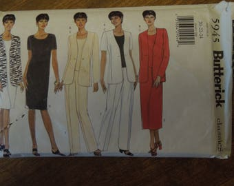 Butterick 5945, sizes 20-24, misses, petite, lined jacket, pullover top, skirt, pants, dress, UNCUT sewing pattern