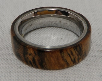 Bocote Wood Ring with Stainless Steel Core   Size 5  Stabilized
