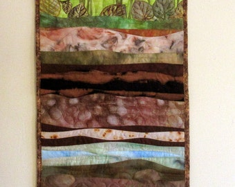 Art quilt made with hand painted fabric, wall hanging  - Earth layers - fiber art