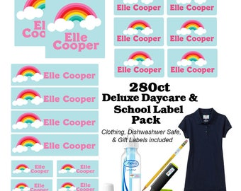 Deluxe Back to School Label Pack- Kids Personalized Labels, School Supplies Labels Rainbow, Camp Label Pack, Daycare Label Pack