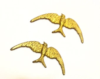 6 Pieces Flying Sparrow Finding, Raw Brass, Vintage, 35x15mm