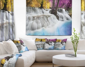 Designart Erawan Waterfall Landscape Photography Wall Tapestry, Wall Art Fit for Wall Hanging, Dorm, Home Decor