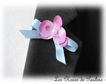 Purple and blue boutonniere Orchid version tied Ribbon
