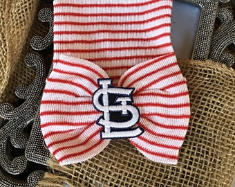 St. Louis Cardinals inspired Hospital Newborn Beanie, Cardinal Fan, red striped bow or blue  hat, Hospital baseball Hat, infant