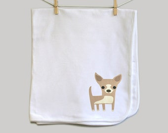 Chihuahua baby cotton swaddle blanket for baby boy or baby girl, baby shower gift