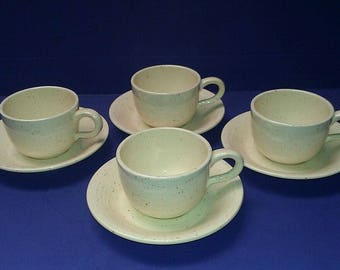 Vintage 8 Piece Set Franciscan Pottery COUNTRY CRAFT Almond Cream Includes 4) Cups & 4) Saucers Made in USA