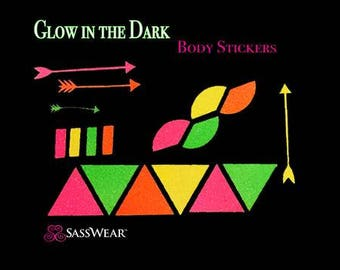 Tribal Glow in the Dark Body and Face Stickers, Neon, Glow Party, UV Black Light, Reusable, Rave Wear