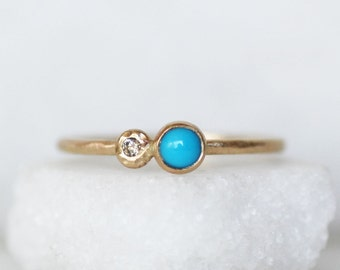 Turquoise and Diamond Stacking Ring - Skinny 1.3mm 14k Gold Turquoise Diamond Stack Ring
